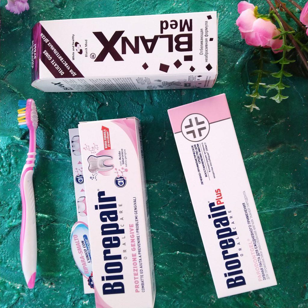 Линейка паст для защиты десен Косвелл Biorepair Paradontgel, Biorepair Gum Protection, Blanx Delicate Gums