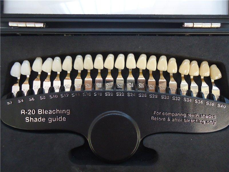 Шкала Вита для определения оттенка зубов до и после отбеливания